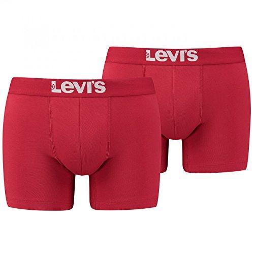 Levi's Herren Boxershorts Shorts Boxer Brief Unterhosen 951007001 4er Pack, Farbe:Rot, Wäschegröße:XL, Artikel:-186 Chili Pepper