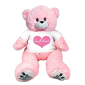 PaperGala 16  Personalized Pink Teddy Bear Name and Message for Valentines Day Anniversary Birthday Custom Gift for Girlfriend Boyfriend
