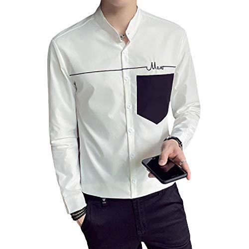 Camisa de Manga Larga de otoño Camisa Informal de Estilo Casual con Botones de una Sola Fila para Hombre M