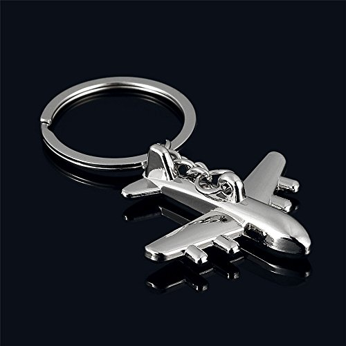 sunnymi Keychain clásica 3d Simulación Modelo Avión Avión llavero anillo llavero, metal, plata, 4 * 4cm