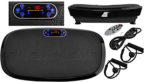 MALATEC Vibrationsplatte 3D Wipp Vibrations Technologie, 2x200W max Motoren Leistung mit Bluetooth Musik und Fernbedienung Schwarz 8527