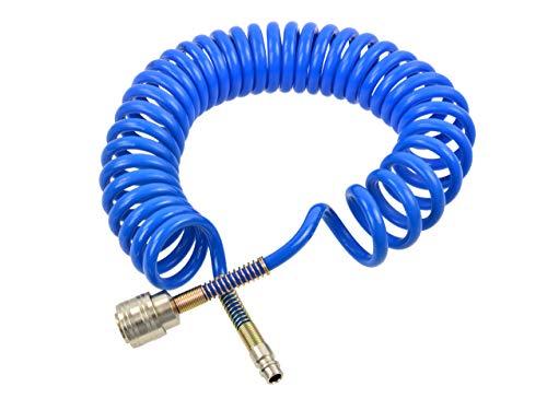 Druckluft Spiralschlauch - PU Polyutethan Druckluftschlauch, Kompressrschlauch, Luftschlauch mit Schnellkupplung - 5m - innerer/äußerer Durchmesser: 5/8mm