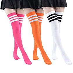 Womens Stirrup 50 Denier Footless Tights One Size Hosiery in Black or Flo Pink