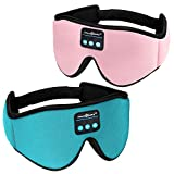 MUSICOZY Sleep Headphones 3D Bluetooth 5.0 Wireless Sleep Mask, Sleeping Headphones Music Eye Mask for Side Sleepers. Air Travel, Meditation, Built-in Ultra Soft Thin Speakers Microphones Pink