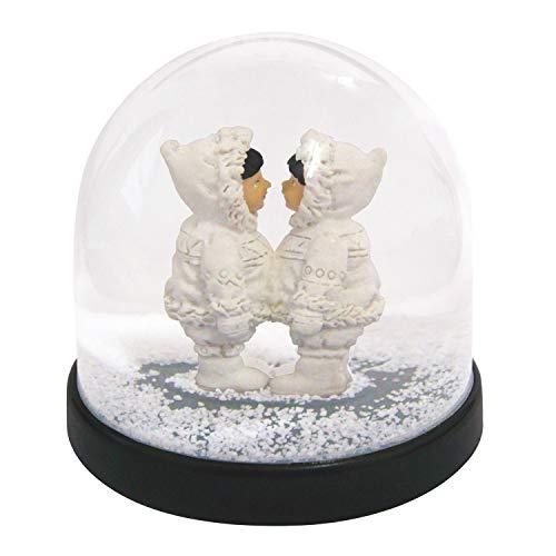 Witzige Schüttelkugel Schneekugel hochwertig mit Eskimo und weißem Glitter 8 x Ø 8.5 cm