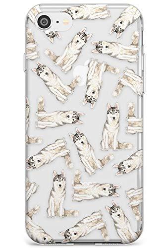 Reticolo Siberian Husky acquerelli Dog Slim Cover per iPhone 7 Plus TPU Protettivo Phone Leggero con Trasparente Animale Domestico Chiaro Amante dei