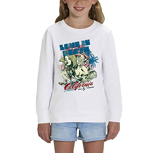 LookMyKase Sweat - Manche Longue - Col Rond - California - Fille - Blanc - 7-8ans