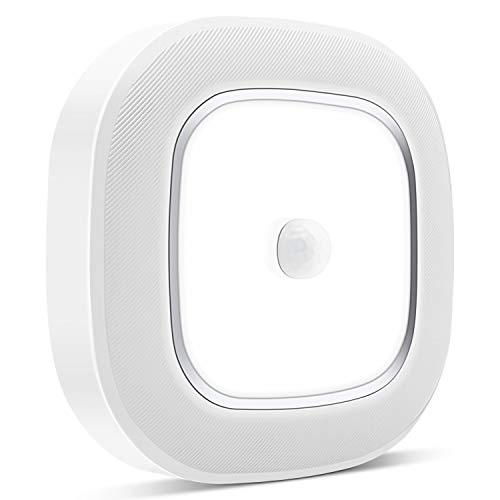 Motion Sensor LED Ceiling Light Battery Operated, WhitePoplar Wireless Motion Sensing Activated LED Light 300LM White Indoor for Closet CabinetStairs KitchenLaundry Bedroom Basement Garage Hallway