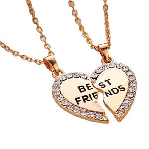 mejores amigos Color Dorado Joyería accesorios Collar de la Amistad Colgante Collares Collar para Parejas Hombres Mujeres Enamorados