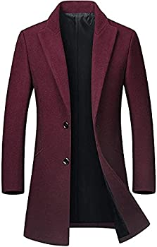 chouyatou Men s Mid-Length Single Breasted Wool Blend Top Coat  Medium Wine
