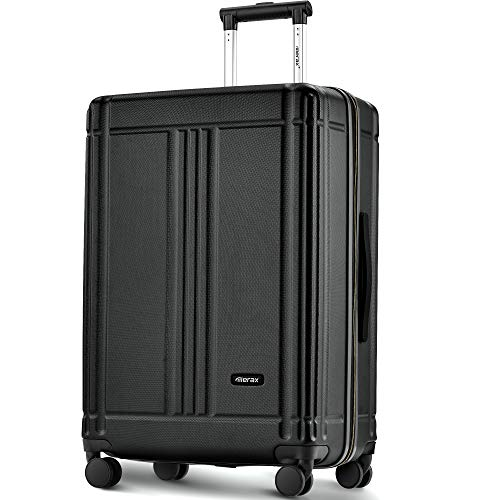 Nishore Laptop Cabin Luggage Lightweight Hard Shell 4 Wheels Suitcases with Tsa Lock Luggage Set (20/24/set of 2) (24, Black) Ship from UK