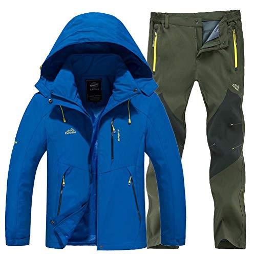 JIANYE Giacca Softshell Pantaloni Softshell Set Uomo Invernali Outdoor Montagna Giacca Trekking Pantaloni Trekking Blu+Army Green L