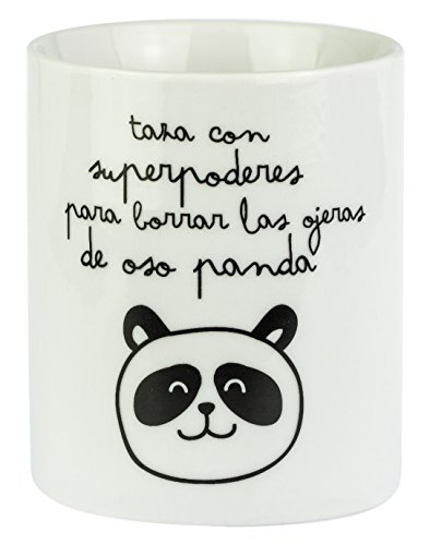 Mr. Wonderful Taza Superpoderes para borrar Las ojeras de Oso Panda, Porcelana, Multicolor, 7 cm
