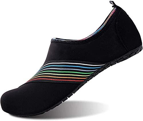 JOK Zapatos de playa, zapatos de buceo, zapatos de piel suaves, calcetines de natación para hombre y mujer, calcetines descalzos para surf, buceo, yoga (38-39, Hypotenuse Black)