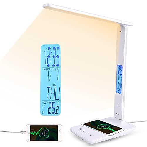 Lampara Escritorio Mesa LED Flexo Táctil 3 Temperaturas Color 5 Niveles Brillo Luz Libro Nocturna Lectura Teléfono Cargador Inalámbrico USB LCD Calendario Temperatura Despertador (Blanco)