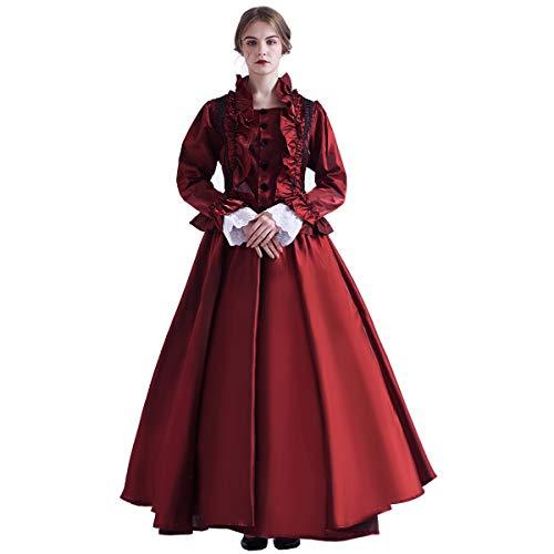 GRACEART Damen Mittelalterliches Renaissance Lolita Kleid Maskerade Ballkleid (Kleid & Reifen-Rock) - Rot - Medium