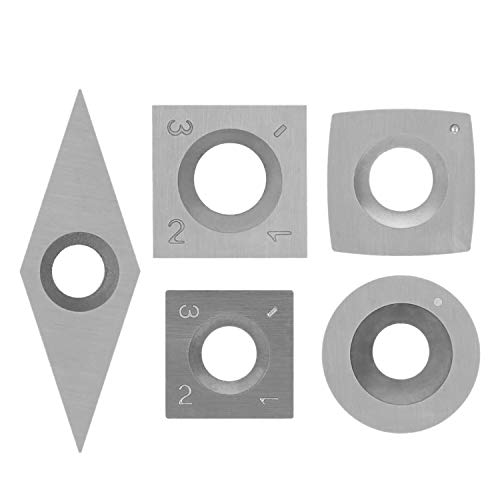 Haude 5Pcs Tungsten Carbide Cutters Inserts Set for Wood Lathe Turning Tools Supplied with 5 Pcs Screws