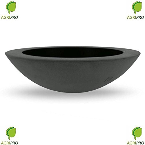 Fioriera ANTRACITE tonda in resina LUX diametro 60 vaso rotondo