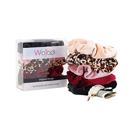 Wajade - 5 elastici per capelli con cerniera nascosta, in velluto, elastici per capelli per grandi Vsco Girl accessori per capelli – nero, rosso vino, rosa cipria, leopardo e cammello