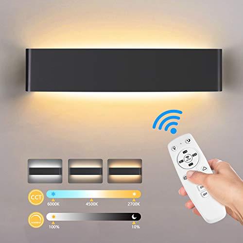 Lureshine LED Wandleuchte Innen 20W Smart Wandlampe Dimmbar mit Fernbedienung 2700K - 6500K Warmweiß/Naturweiß/Kaltweiß Modernes Wandleuchte für Wohnzimmer Schlafzimmer Flur Treppen (Black)