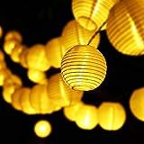 Guirnalda Luces Exterior Solares, 6,5M Luces de LED Lantern 30 Farolillos Luz Cadena, 8 Modos IP65 Impermeable Interior y Exterior Luz Solar para Jardín, Navidad, Terraza, Fiestas (Blanco Cálido)