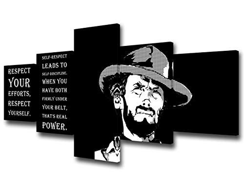 Clint Eastwood Portrait Pictures Celebrity Quotes Paintings Black and White Wall Art 5 Piece Canvas Inspirational Artwork Home Decor for Living Room Framed Gallery-wrapped Ready to Hang(50''Wx24''H)