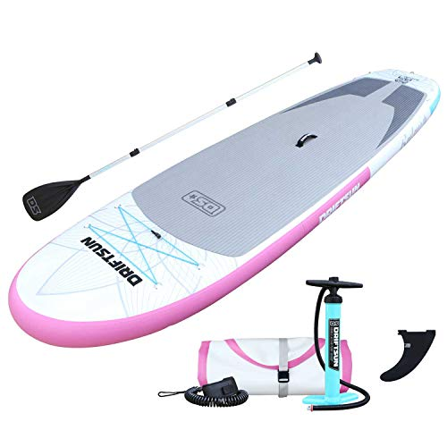 Driftsun Inflatable Stand Up Paddle Board - 11ft x 34in Board SUP Package with Accessories, Travel Backpack, Adjustable Paddle, Leash & Removable Fin, Non-Slip Deck Pad, Youth & Adult ISUP (Lotus)