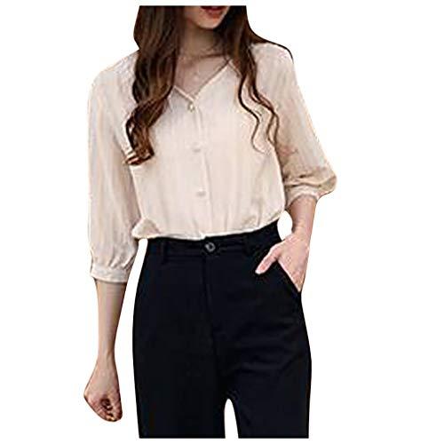 Damen Freizeitoberteil,Frauen Baggy Kaftan Einfarbiges Damen-T-Shirt mit V-Ausschnitt Tops Button Reine Farbe Halbarm T-Shirt Bluse