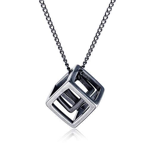 ZHHAOXINJE Sterke Heren Titanium Staal Hanger Cube Ketting Persoonlijkheid Charm Sieraden Unisex Kerstmis Valentijnsdag Verjaardagscadeau Stuur Geschenkdoos voor Mannen Vrouwen