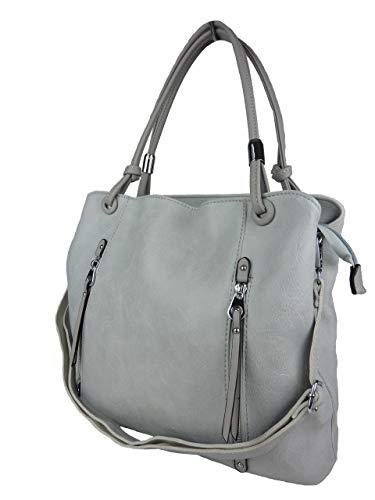 BELLA BELLY Damen Handtasche Naomi - Pastell Farben Auswahl - Leder Optik - Shopping Bag 4177-BB (grau hellgrau)
