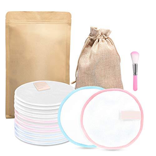 FISHOAKY 12 Waschbare Abschminkpads | Abschminktücher aus Bambus & Baumwolle | Umweltfreundlich | Wattepads Wiederverwendbar mit Make Up Pinsel | Gesichtsreinigung | Less Waste (White)