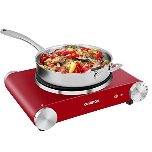 Hot Plate, CUSIMAX 1500W Electric Hot Plate for Cooking Single Burner Electric Stove with Heat-up in Seconds Adjustable Temperature Control Stainless Steel Non-Slip Rubber Feet, Easy Clean Red is $37 (38% off)