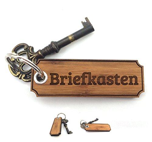 Mr. & Mrs. Panda Schlüsselanhänger Briefkasten Classic Gravur - 100% handmade aus Bambus - Gravur,Graviert Schlüsselanhänger, Anhänger, Geschenk Gravur,Graviert