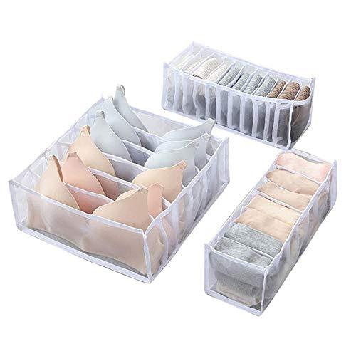 JSWANG Unterwäsche Aufbewahrungsfach Box Faltbare Nylon Gitter Trennboxen Schublade Schrank Organisatoren Sortieren BH Socken Schals 6+7+11 Grid White