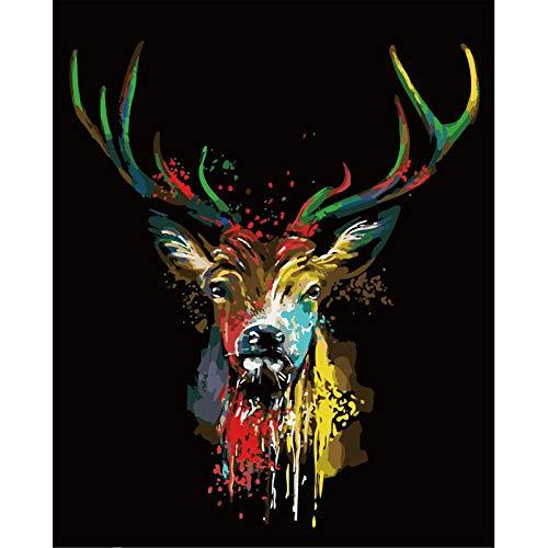 PaintXYZ Sanftmütig gemalt Hirsch Tier DIY Malen nach Zahlen Wandkunst Bild Acrylgemälde für Hauptdekoration-40x50cm