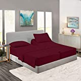 Split King Royal Collection 1900 Egyptian Cotton - Bamboo Quality Bed Sheet Set with 2 Twin XL Fitted, 1 King Flat and 2 King Pillow Case.Wrinkle Free Shrinkage Free Fabric (Split King, Burgundy Red)