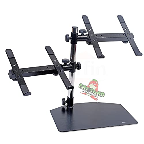 Double DJ Laptop Stand by FAT TOAD | 2 Tier PC Table Holder | Portable Computer Clamp Equipment Rack with Duel Mounts for Music Studio Mixers, Controllers, Monitors, CD Player & Disc Jockey Booth Gear