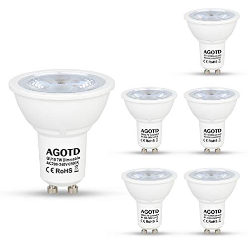 AGOTD Regulable Bombillas LED Gu10 7w, Lampara de Led GU10, Blanco Frío 6500K, 560Lm, Lampara halogenos Equivalentes a 50 Watt, Casquillos Led gu 10, 230V,Spot Luz Led,Pack de 6