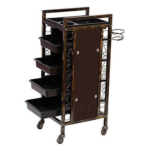 Portable cart - GR/Chariot Tout Usage de Coiffeur de Coiffure de Coiffeur de Salon de beauté rétro de 5 tiroirs avec des Roues - Retro Black