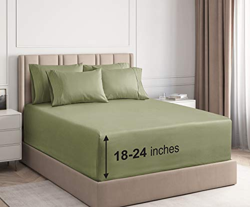 CGK Unlimited Extra Deep Pocket Sheets - King Size Sage Green - Super Deep Pocketed Bed Sheet Set - Deep Fitted - Oversize Bedding