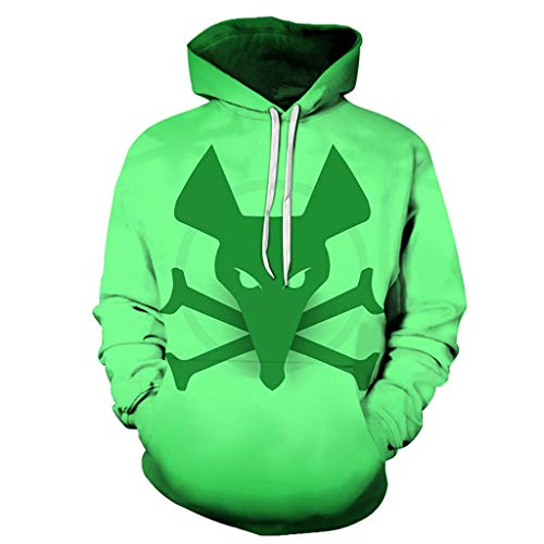 Unisex Hoodies Prints Hooded Sweatshirts for Kids, Unisex Long Sleeves Pullover Hooded Sweatshirt 3D Digital Print Green Mouse Skull Pattern Fashion Cool Personality Outwear Big Pockets