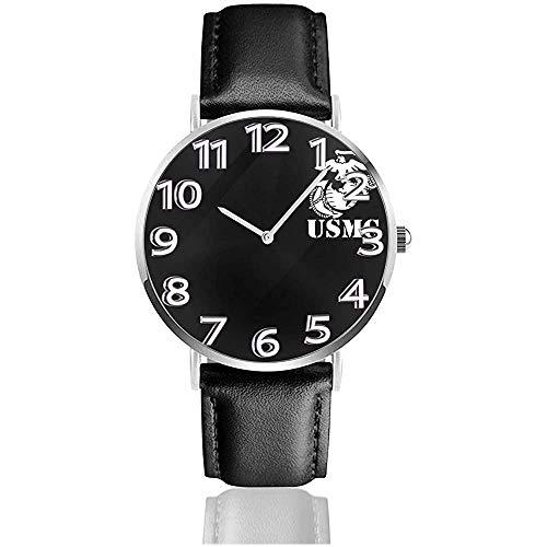 USMC in schwarzem Leder sehen Unisex-Armbanduhren Quarzuhr tragen Uhren
