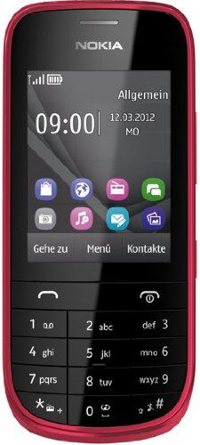 Nokia Asha 203 Touch and Type Handy (6,1 cm (2,4 Zoll) Bildschirm, 2 Megapixel Kamera) dunkelrot