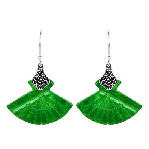 WOZUIMEI Pendientes de Gota S925 Plata Tallados a Mano Pendientes de Jade en Forma de Abanico Pendientes de Estilo Chino Joyería de Plata Femenina Joyería de Orejaverde