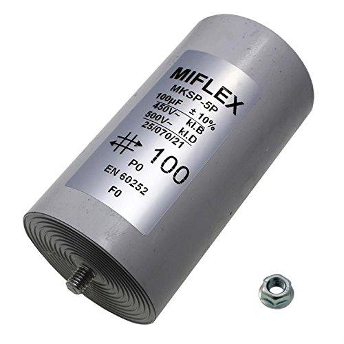 Condensador de Arranque de Motor 100 µF, 450V 65x 119mm, Conector M8, Miflex, 100 uF.