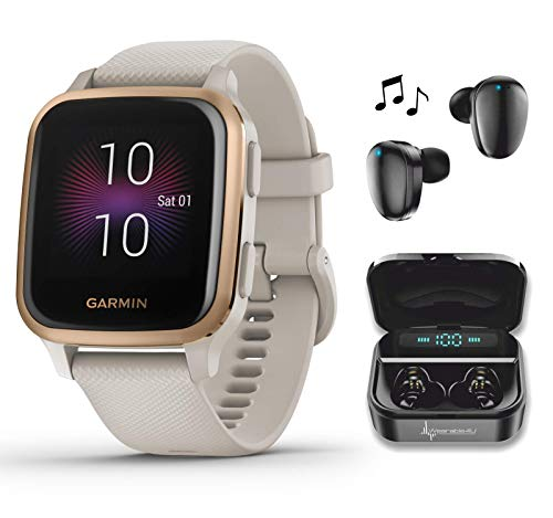 Garmin Venu Sq Music GPS Best Multisport Fitness Smartwatch Light Sand/Rose Gold with Wearable4U Black Earbuds with Charging Power Bank...