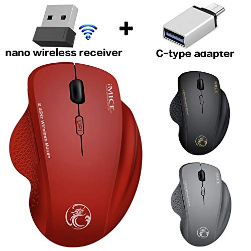 Wireless Mouse for MacBook Pro MAC Laptop Wireless Mouse for MacBook Air iMac Desktop Computer Windows Wireless Mouse for Chromebook XP (Red)