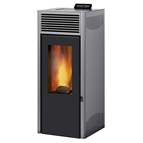 Invicta Poêle à granulés Nola 8 Etanche Gris - Acier - 8 kW - Surface de Chauffe 30 à 100 m² - Flamme Verte 7 étoiles