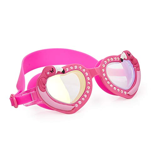 Bling 2O Kids Swimming Goggles - Pink Flamingo Style Swim Goggles for Girls - Ages 8+ - Anti Fog, No Leak, Non Slip, UV Protection with Hard Travel Case - Lead and Latex Free (Pink Feather)