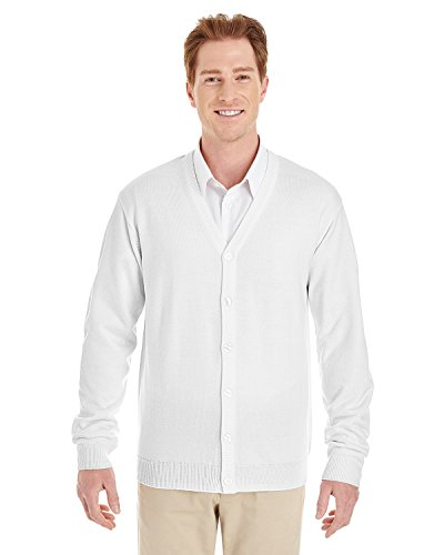 Harriton Mens Pilbloc V-Neck Button Cardigan Sweater (M425) -WHITE -L